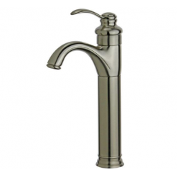Bellaterra 10118A2-BN-W Madrid Single Hole Single Handle Bathroom Faucet with Overflow Drain in Brushed Nickel