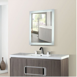 Bellaterra 801071-M Rectangular LED Bordered Illuminated Mirror with Bluetooth Speakers