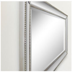 """Bellaterra 802032-M 24"""" Rectangle Silver Beaded Frame Mirror, Mount Type-Horizontal or vertical"""