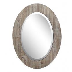 "Bellaterra 80820 24"" Oval Wood Grain Frame Mirror"