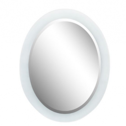 """Bellaterra 808301-M 23"""" Oval Frosted Frame Mirror, Mount Type- Horizontal & Vertical"""