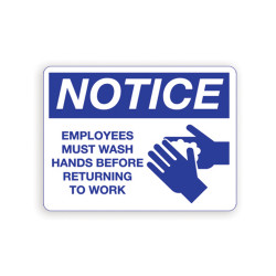 Palmer Fixture IS8001 Employee Wash Hands Notice Sign