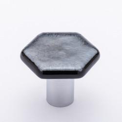 Sietto K-1702 Hexagon Irid Silver Black Knob