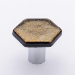 Sietto K-1703 Hexagon Irid Gold Black Knob