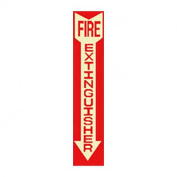 American Permalight 600063 FIRE EXTINGUISHER Photoluminescent Sign, Red Background