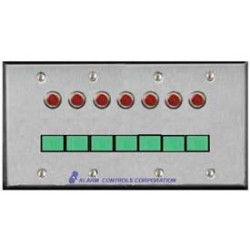 Alarm Controls SLP Four Gang, Stainless Steel Wall Plate, Illuminated Push Button, Monitoring & Control Stations
