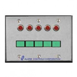 Alarm Controls SLP Three Gang, Stainless Steel Wall Plate, Green Illuminated Push Button, Monitoring & Control Stations