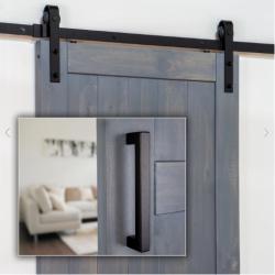 Ageless Iron 600005 Barn Door Hardware Track Kit (Includes Black Iron Grip)