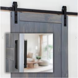 Ageless Iron 600007 Barn Door Hardware Track Kit (Includes Black Iron Grip and Flush Pull)