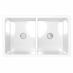 """Fine Fixtures FC3320LD Longstone Fireclay Kitchen Sinks in White - 33"""""""