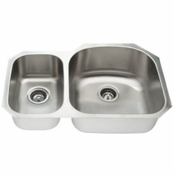 Fine Fixtures S65 Offset Double Bowl Undermount Stainless Steel Sink