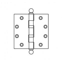 """Mckinney TA2314BT Non-Ferrous Standard Weight 5 Knuckle Ball Tip, 4-1/2"""" x 4-1/2"""", Polished Brass"""