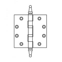 "Mckinney TA2314ST Non-Ferrous Standard Weight 5 Knuckle Steeple Tip, 4-1/2"" x 4-1/2"", Polished Brass"
