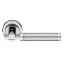 Valli & Valli H 4742 Square Style Rosette Door Lever,Polished Chrome/Satin Stainless