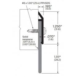 """ZERO 39WA/BK/D/G Solid Neoprene 1 1/4"""" (31.8) - Door Sweep"""