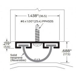 """ZERO 52A Neoprene in Aluminum Track, 1 7/16""""(36.5) - Door Sweep"""
