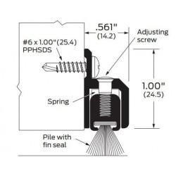 ZERO 255AA/BK/D/G Adjustable Surface Sweep with Spring / Pile Insert - Door Sweep