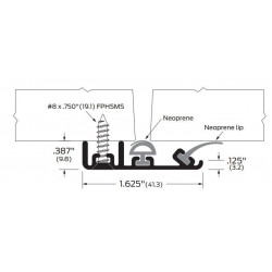 ZERO 383FS-AA/BK/D/G Neoprene / Intumescent - Meeting Stile