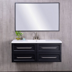 Bain Signature Harvard Wall-Mount Black Vanity with Mirror MDF with PVC Finish