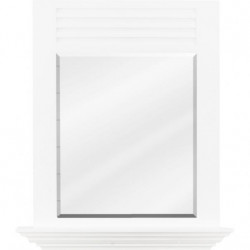 """Hardware Resources MIR107 Lindley 25 1/2"""" x 30"""" White Mirror with 4"""" Shelf and Beveled Glass"""