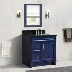 "Bellaterra 400700-37R-BU 37"" Single Sink Vanity In Dark Gray Finish Right Drawers"