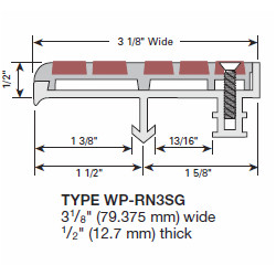 """Wooster WP-RN3-SG Profiles For New Concrete Stairs And For Steel Pan 1/2"""" Thick Two Stage Sections"""