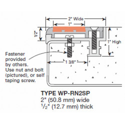 """Wooster WP-RN2-SP-NO Profiles For New Concrete Stairs 1/2"""" Thick Two Stage Sections No Wood Insert Supplied"""