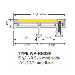 """Wooster WP-RN3-SG-NO Profiles For New Concrete Stairs And For Steel Pan 1/2"""" Thick Two Stage Sections No Wood Insert Supplied"""