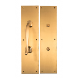 """Brass Accents A02-P7401 Antimicrobial Push Plates & Hands Free Pulls 8-3/4"""" On 4"""" x 16"""" Plate"""