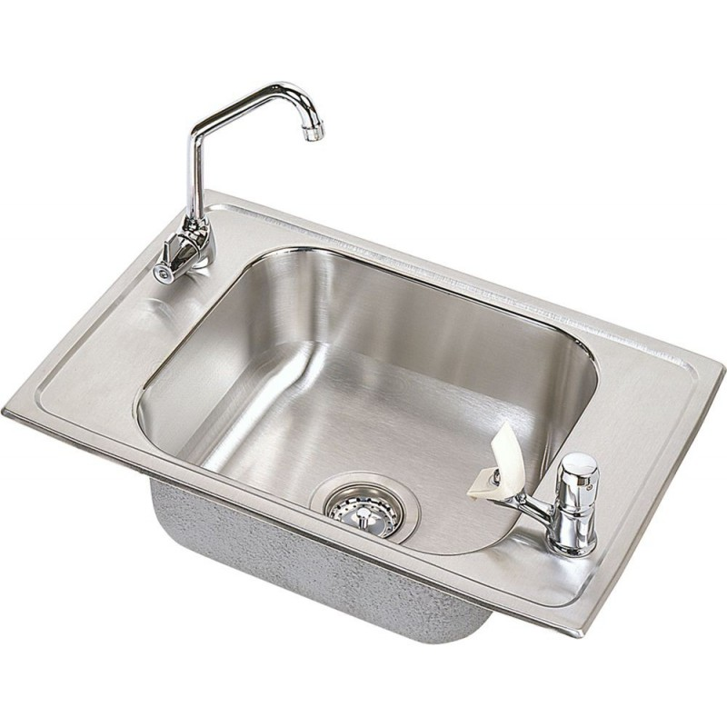 Elkay cdkrc2517c celebrity stainless steel single bowl top for Best faucet for kitchen sink