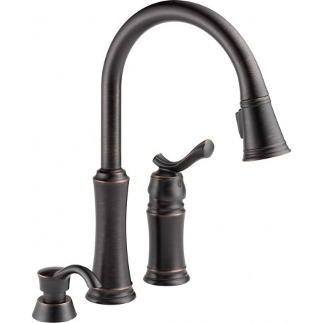 Delta 59963 SSSD DST Pull Down Kitchen Faucet With Soap Dispenser Lakeview®