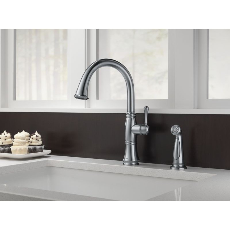 delta 4297 dst single handle kitchen faucet with spray