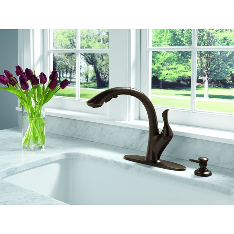 delta 4153 dst single handle water efficient pull out shop delta linden venetian bronze 1 handle high arc deck
