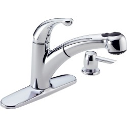 Delta 467-SD-DST Single Handle Pull-Out Kitchen Faucet with Soap Dispenser Palo™