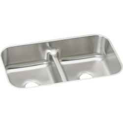 Elkay EAQDUH3118 Gourmet Stainless Steel Double Bowl Undermount Sink