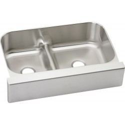 Elkay EAQDUHF3523L Gourmet Stainless Steel Double Bowl Apron Front Undermount Sink