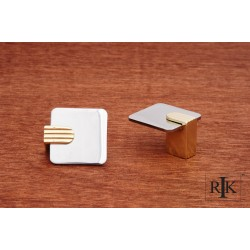 RKI CK 4445 Two Tone Flat Top Knob Chrome & Brass