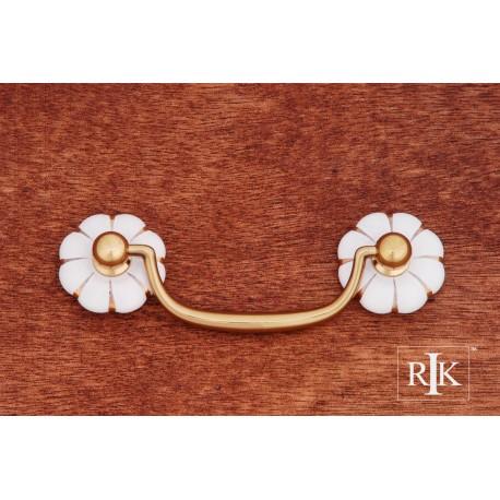 RKI CP 352 Porcelain Gold Line Flower Ends Bail Pull