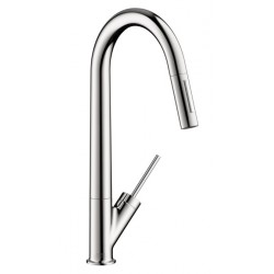 Axor 10821001 Starck 2-Spray HighArc Kitchen Faucet, Pull-Down