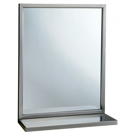 Bobrick 292 1836 Stainless Steel Welded-Frame Mirror/ Shelf Combinations