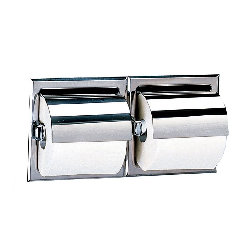 Bobrick 600 series 699 2 roll recessed toilet tissue dispensers with stainless steel hoods - Stainless steel toilet paper dispenser ...