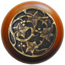 Notting Hill NHW-715 Ivy with Berries Wood Knob 1-1/2 diameter