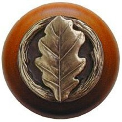 Notting Hill NHW-744 Oak Leaf Wood Knob 1-1/2 diameter