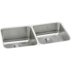 Elkay ELUH311810RPD Gourmet (Lustertone) Stainless Steel Double Bowl Undermount Sink Kit