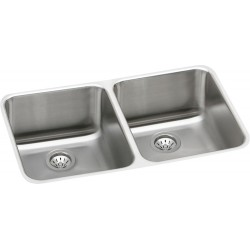Elkay ELUH3118DBG Gourmet (Lustertone) Stainless Steel Double Bowl Undermount Sink Kit