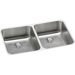 Elkay ELUH3118PD Gourmet (Lustertone) Stainless Steel Double Bowl Undermount Sink Kit