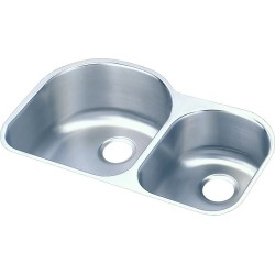 Elkay ELUH311910RDBG Harmony (Lustertone) Stainless Steel Double Bowl Undermount Sink Kit