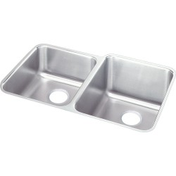Elkay ELUH3120L Gourmet (Lustertone) Stainless Steel Double Bowl Undermount Sink