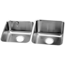 Elkay ELUH3120LEK Gourmet (Lustertone) Stainless Steel Double Bowl Undermount Sink Kit