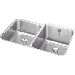 Elkay ELUH3120LPDK Gourmet (Lustertone) Stainless Steel Double Bowl Undermount Sink Kit